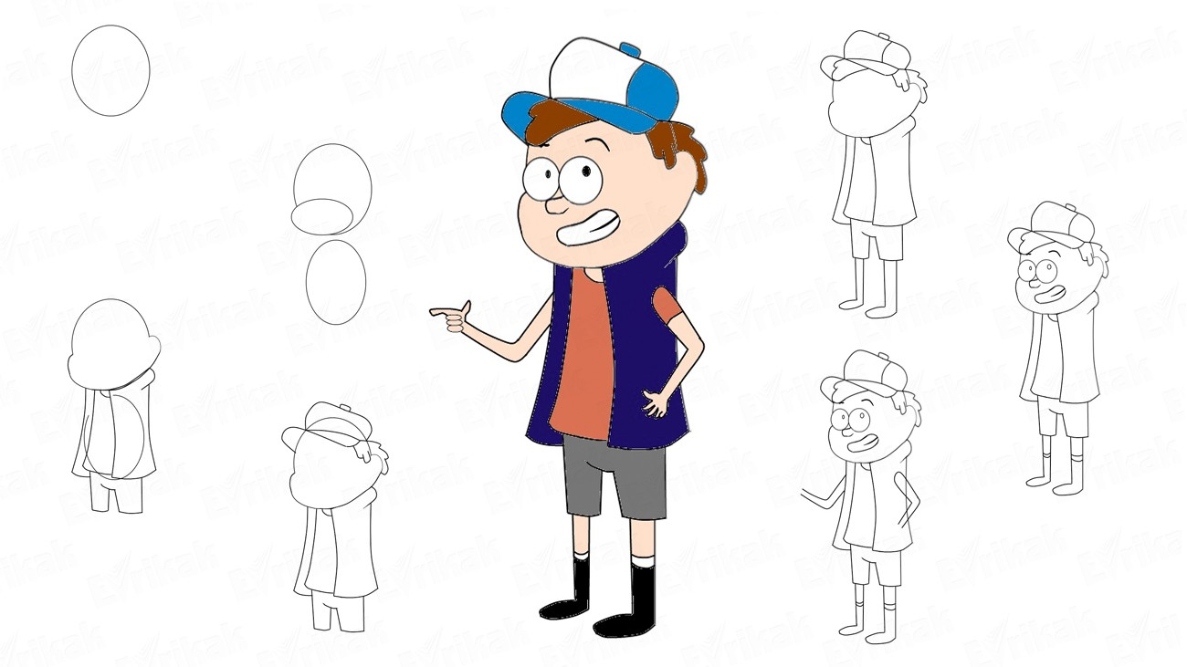 Learn to draw Dipper Pines step by step