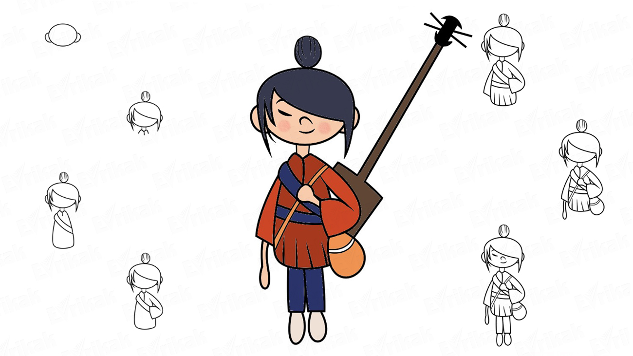 Learn to draw Kubo the samurai from the cartoon (+ coloring)