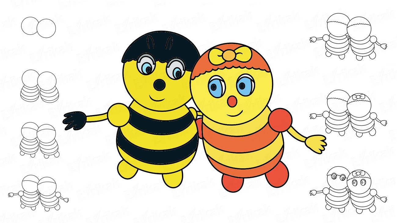 Learn to draw a bumblebee Leon and a bee Mireyn (+ coloring)