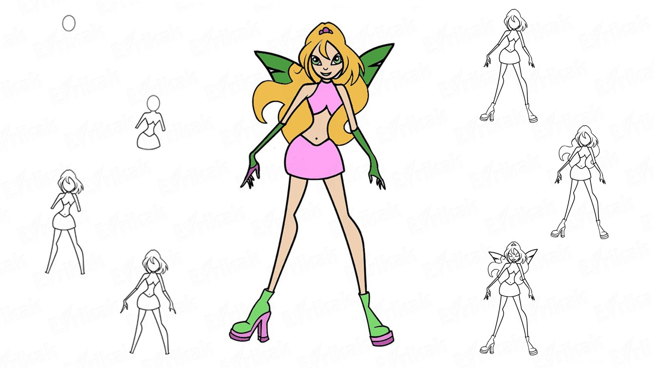 Learn to draw a doll Stella Winx in stages (+ coloring)