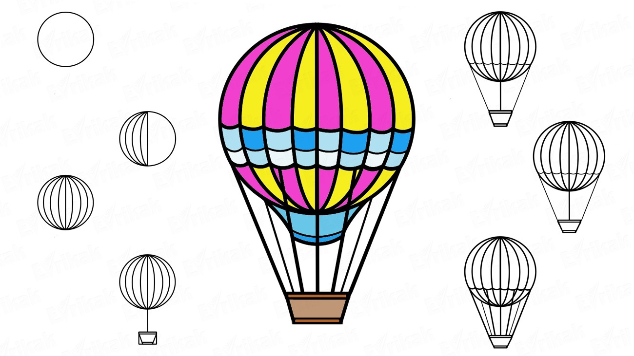Learn to draw a balloon step by step using a pencil (+ coloring)