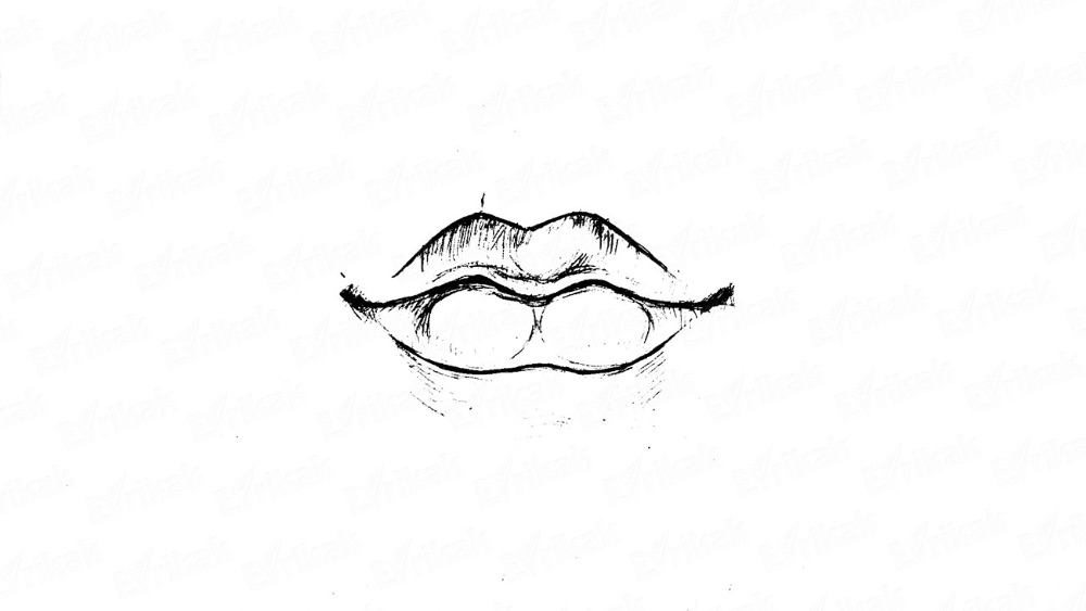 Learn to draw a human's lips in stages