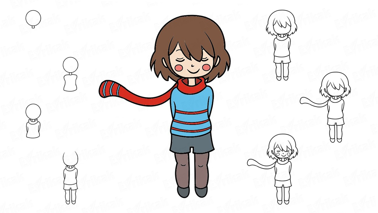 Learn to draw Frisk from Undertale in stages (+ coloring)