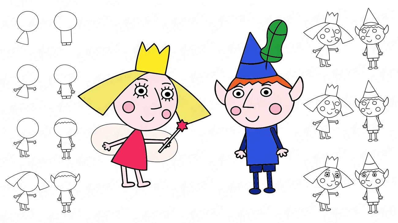 Learn to draw Ben and Princess Holly step by step (+coloring)