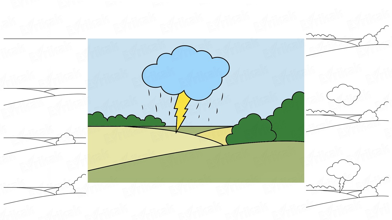 Learn to draw a spring thunderstorm in stages together with a child (+ coloring)