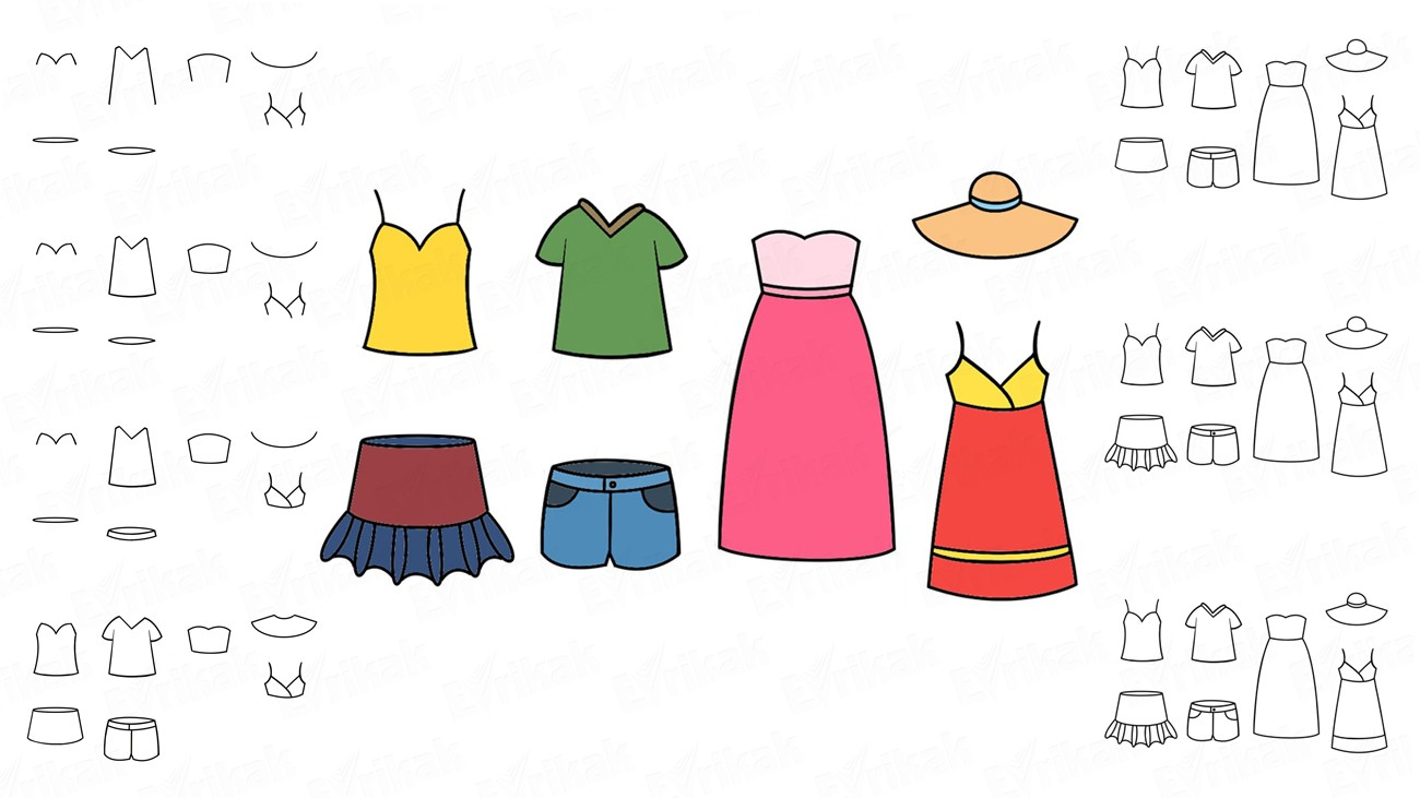 Learn to draw the summer clothes in stages together with a child (+ coloring)