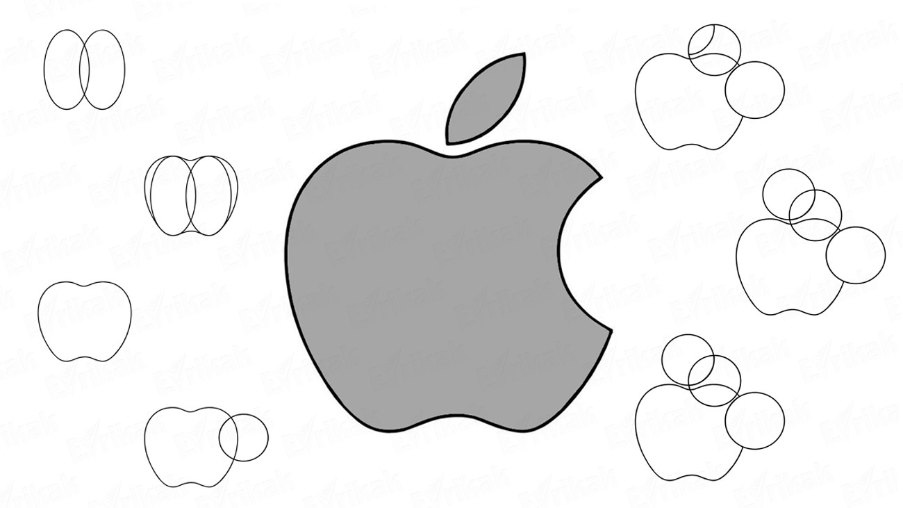 Learn to draw the Apple logo in stages together with a child (+coloring)