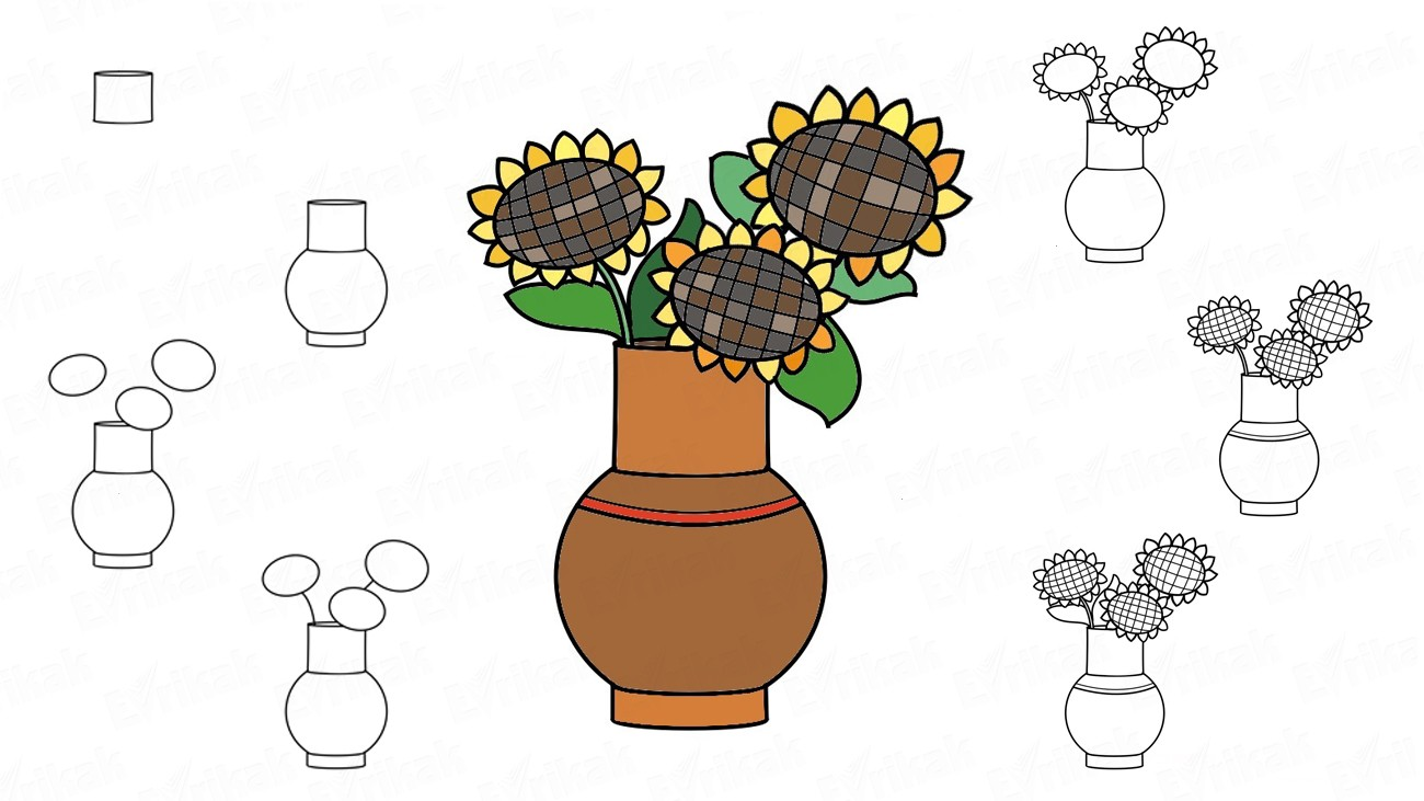 Learn to draw the autumn flowers in a vase step by step (+ coloring)