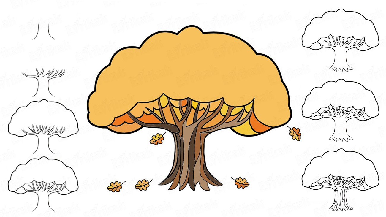 Learn to draw an autumn oak in stages together with a child (+ coloring)