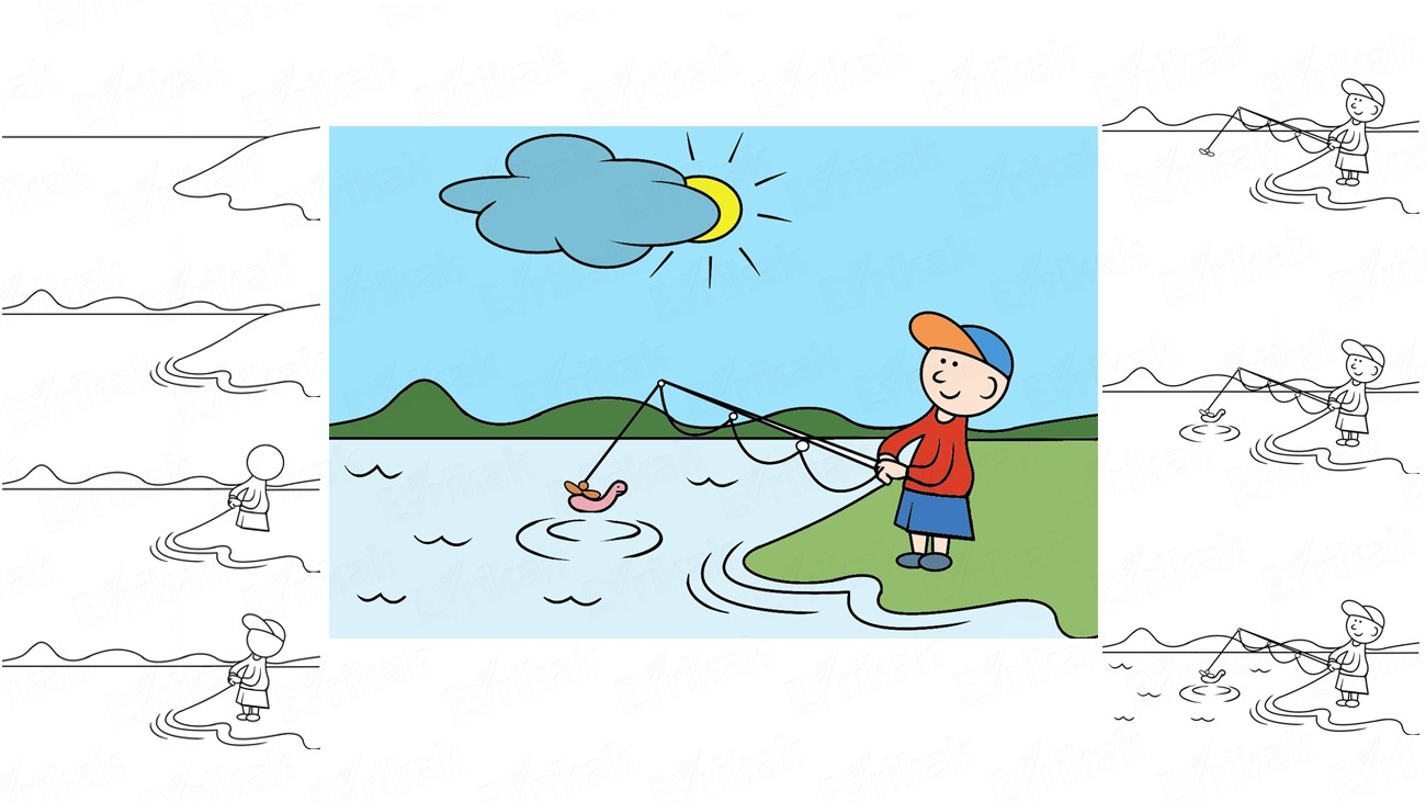 Learn to draw a fishing in stages together with a child (+ coloring)