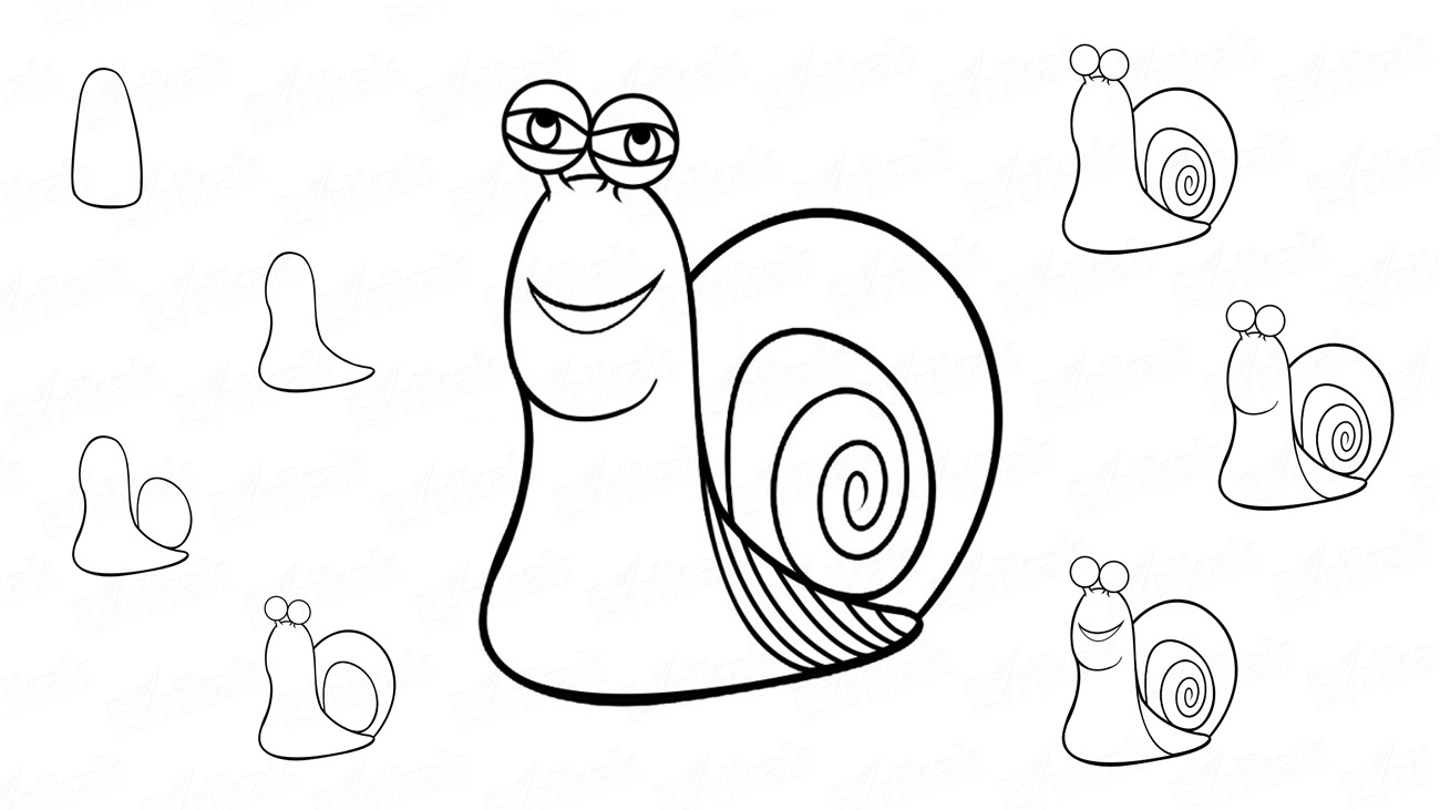 "Learn to draw a snail from the cartoon ""Turbo"" (+ coloring)"