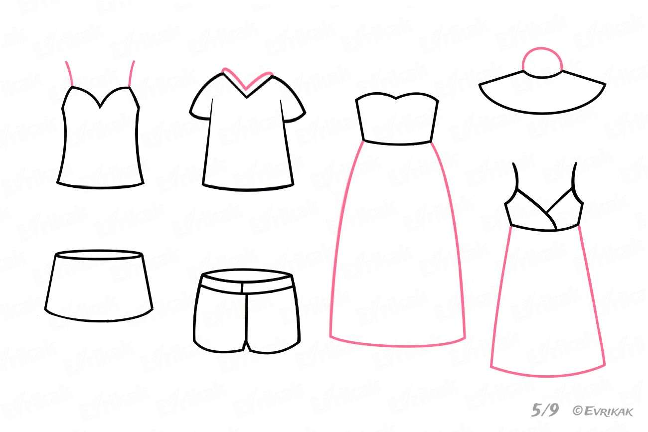 Drawing the skirts, the straps and the collars