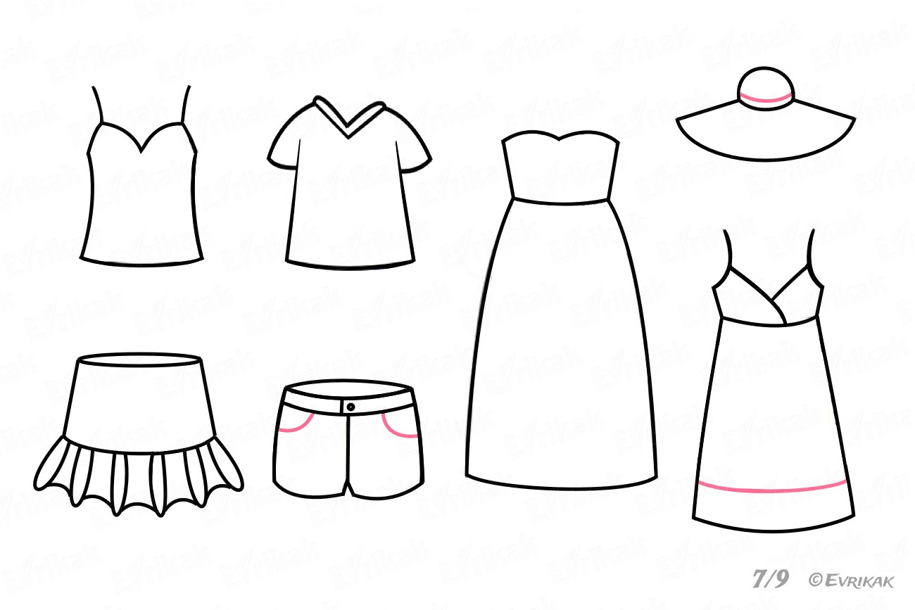 Draw the shorts, a sundress and a hat