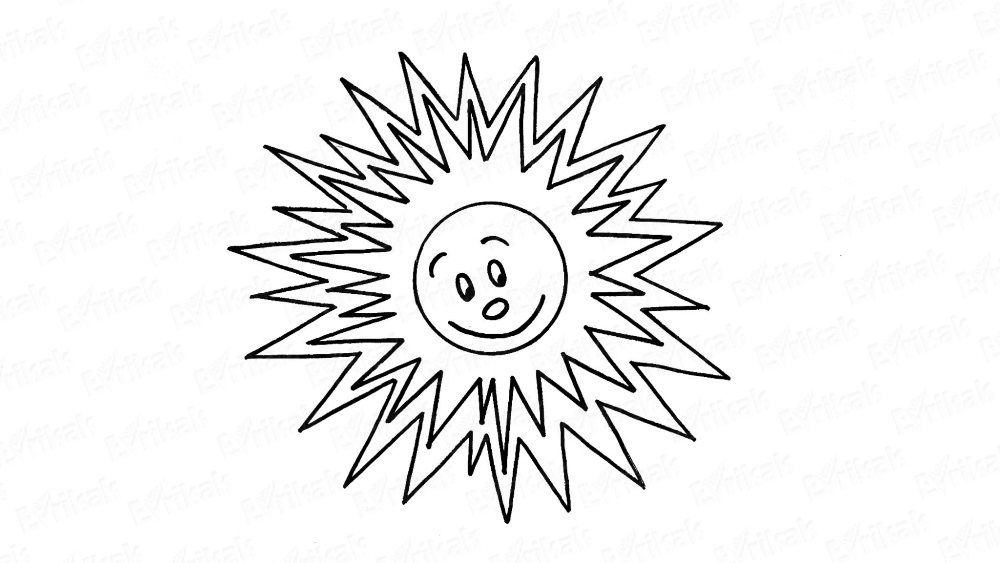 Learn to draw the sun with a smile and the eyes