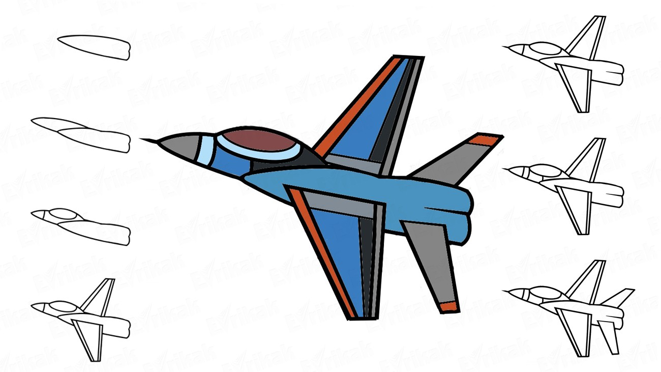 Learn how to draw a jet fighter together with a child (+ coloring)
