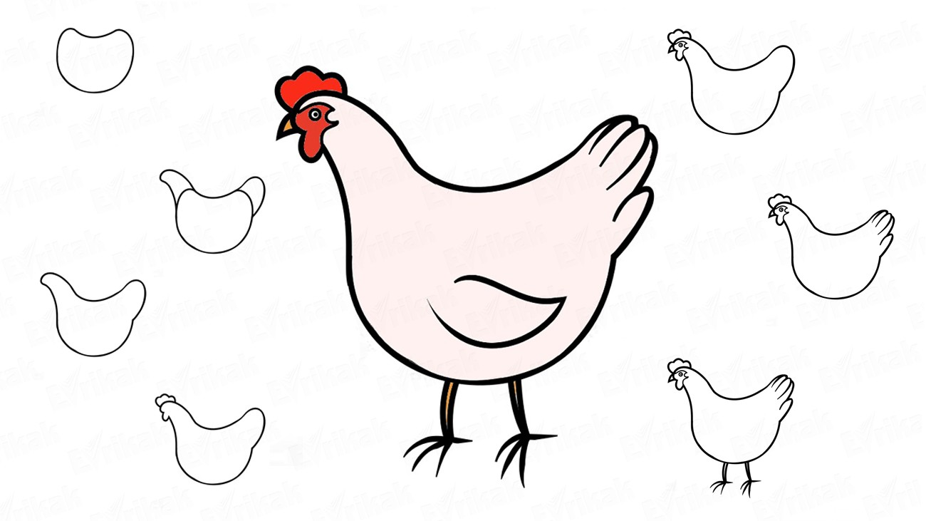 Learn to draw a hen for children in stages (+coloring)