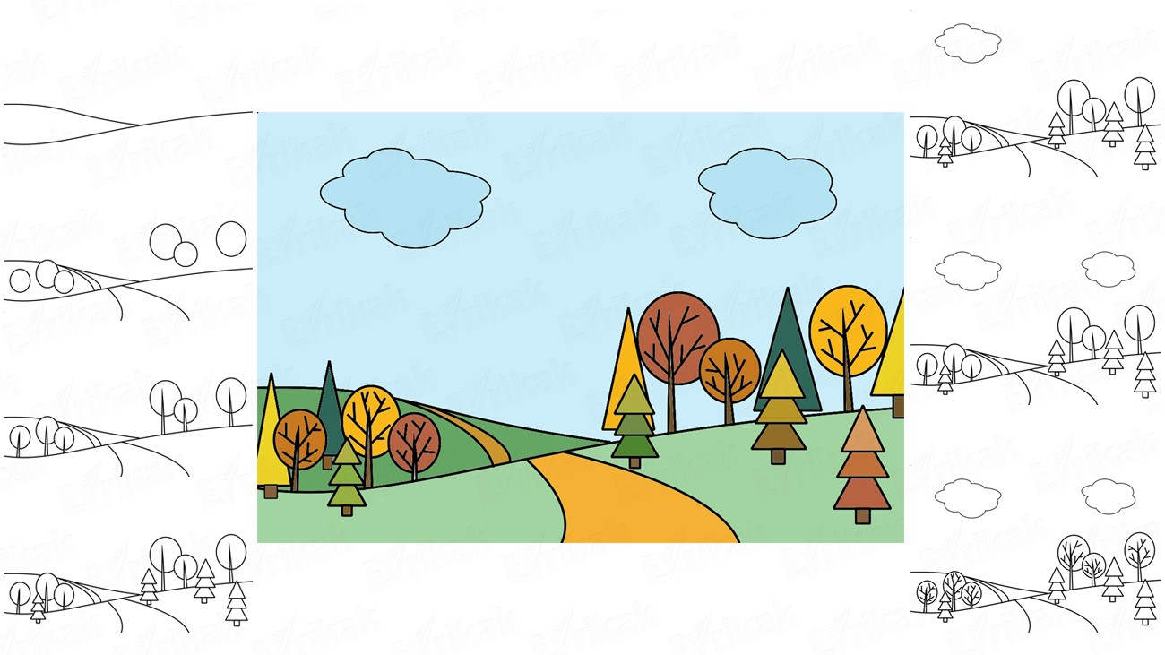 Learn to draw an autumn forest in stages together with a child (+ coloring)
