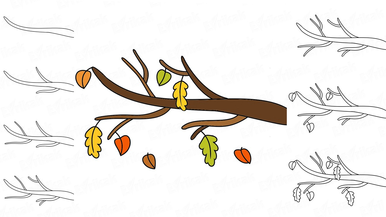 Learn to draw an autumn branch in stages together with a child (+ coloring)