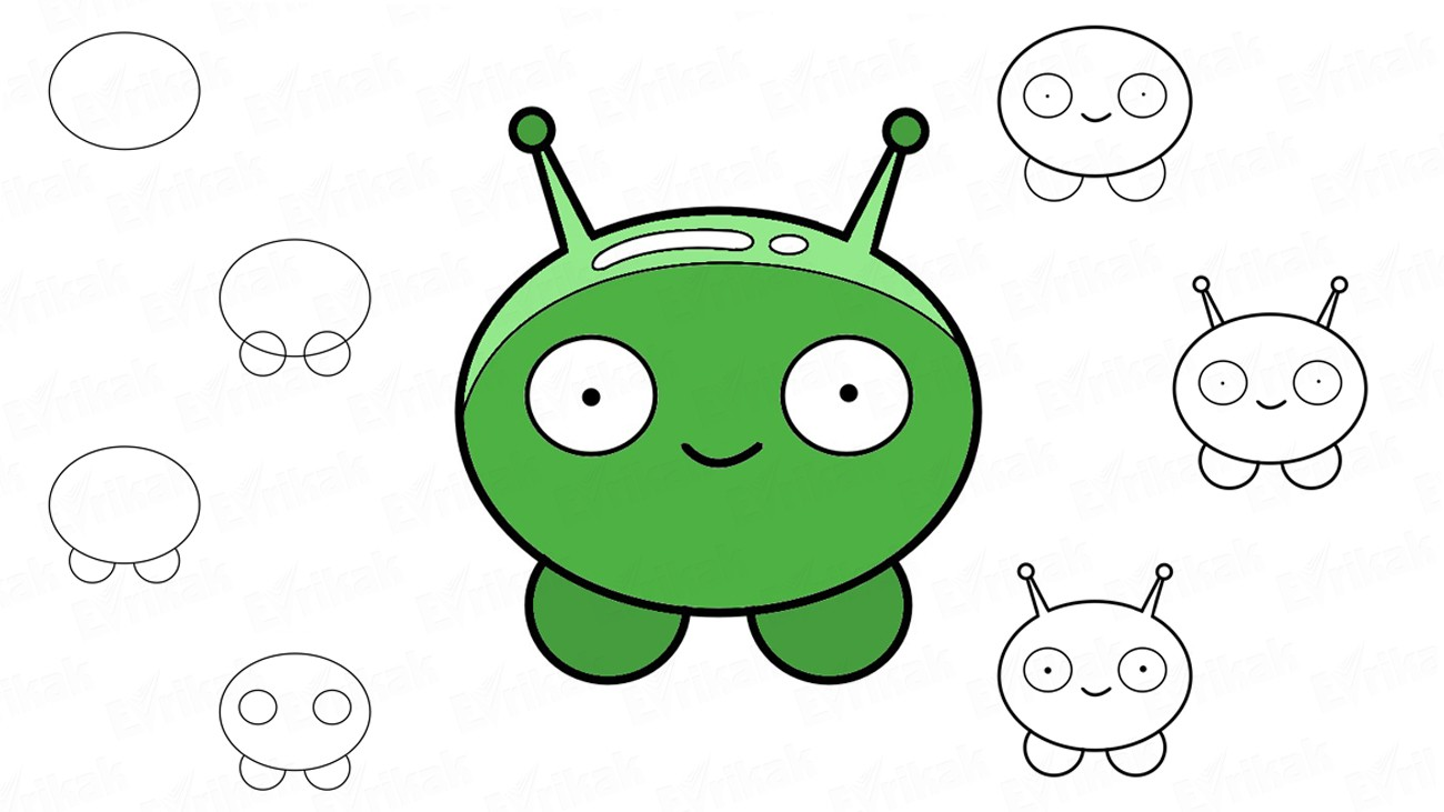 Learn to draw a cartoon Mooncake in stages (+ coloring)