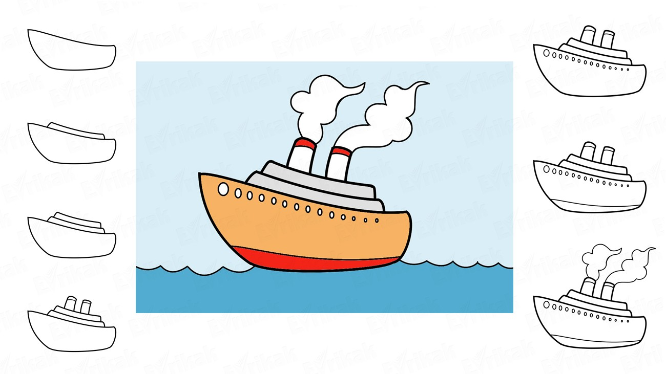 Learn to draw a steamship in stages together with a child (+ coloring)