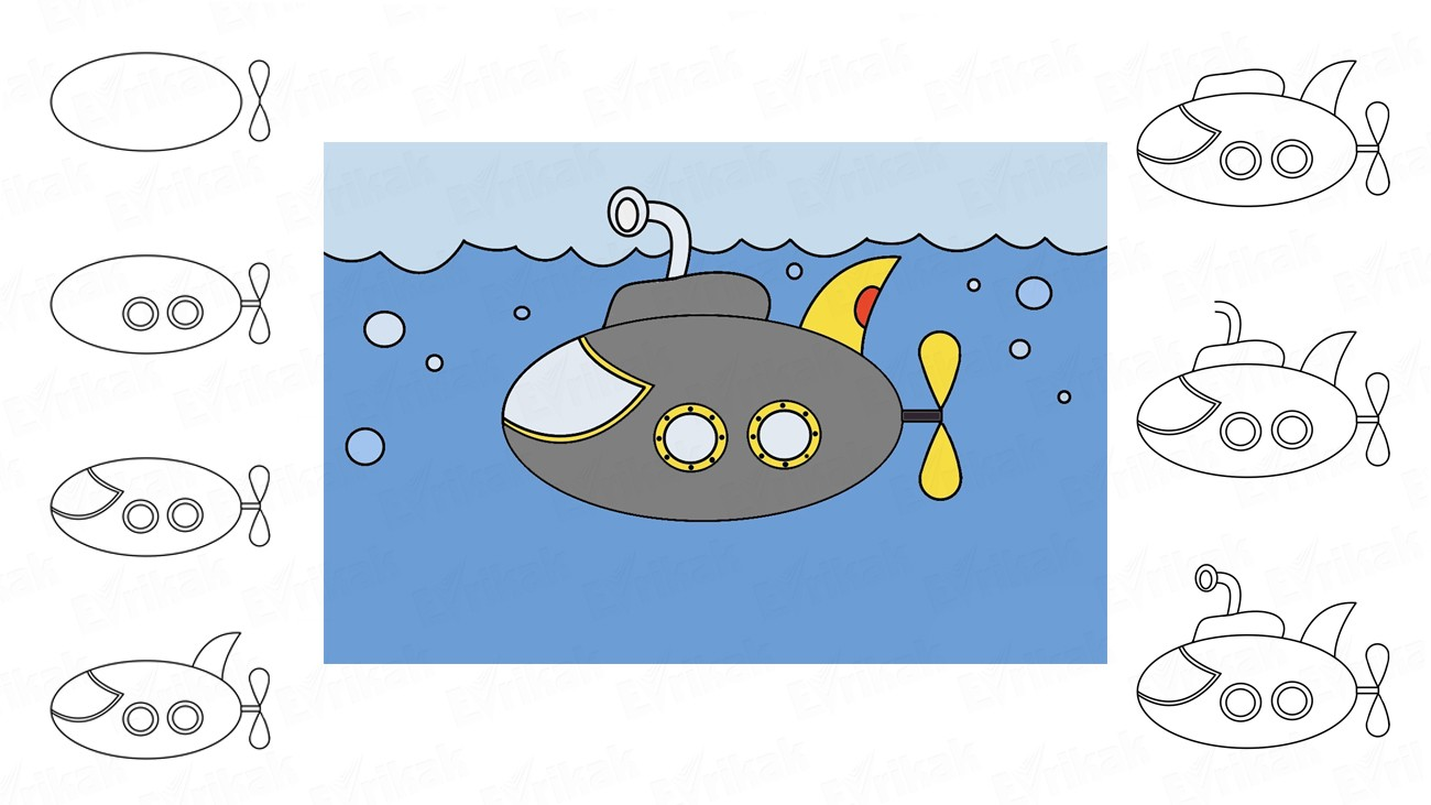 Learn to draw a submarine in stages using a pencil (+coloring)