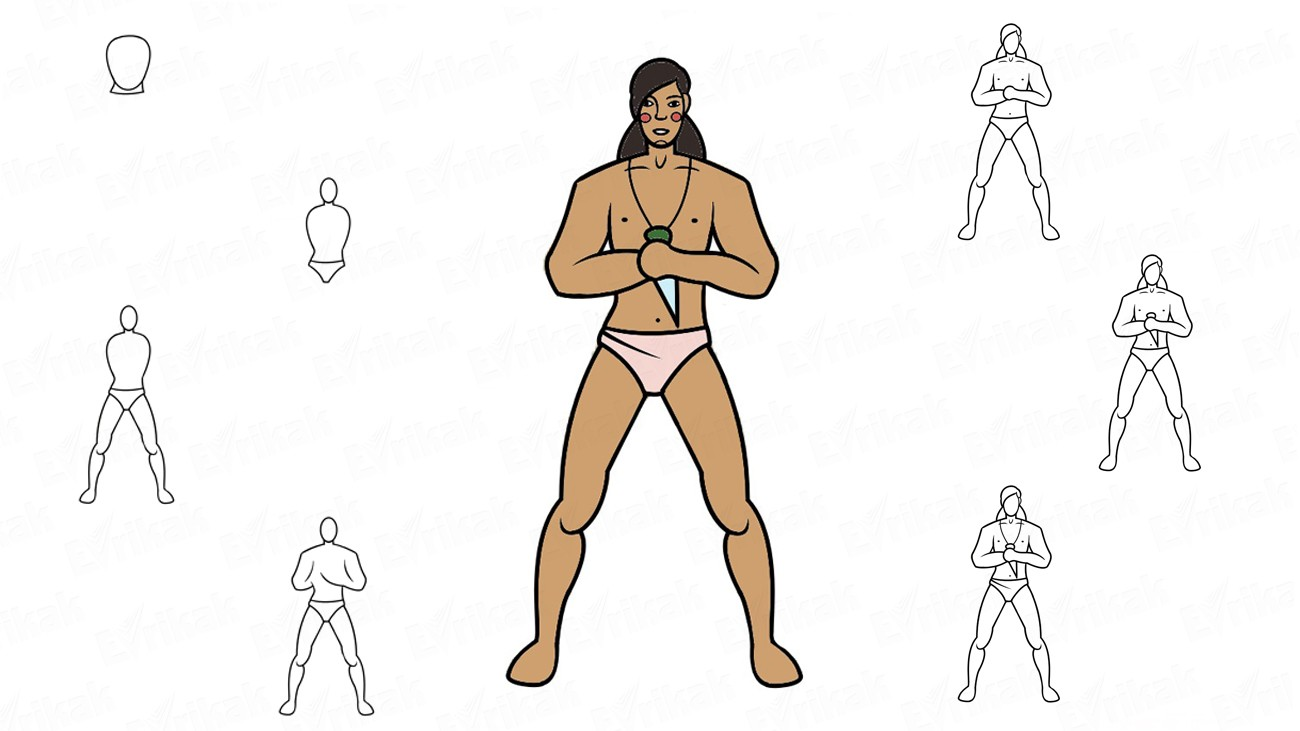 Learn to draw an adult Mowgli from the cartoon in stages (+coloring)