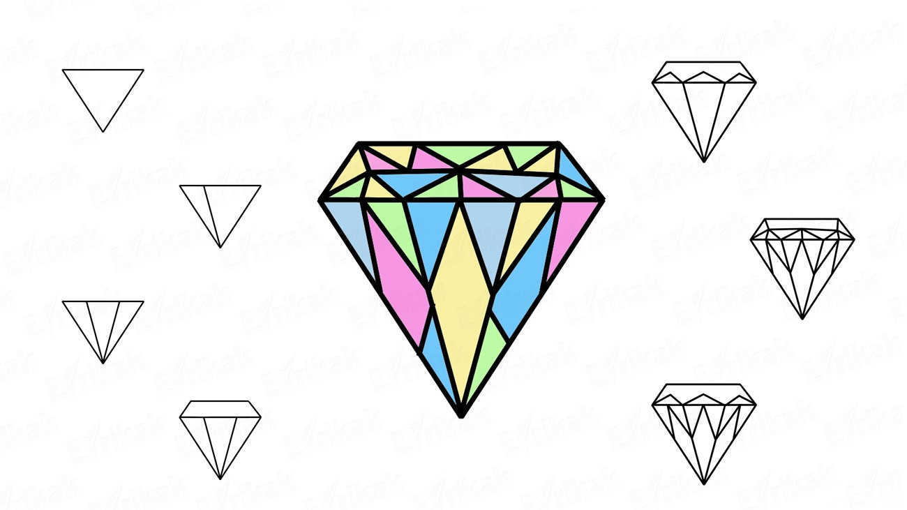 Learn to draw a diamond in stages using a pencil (+ coloring)