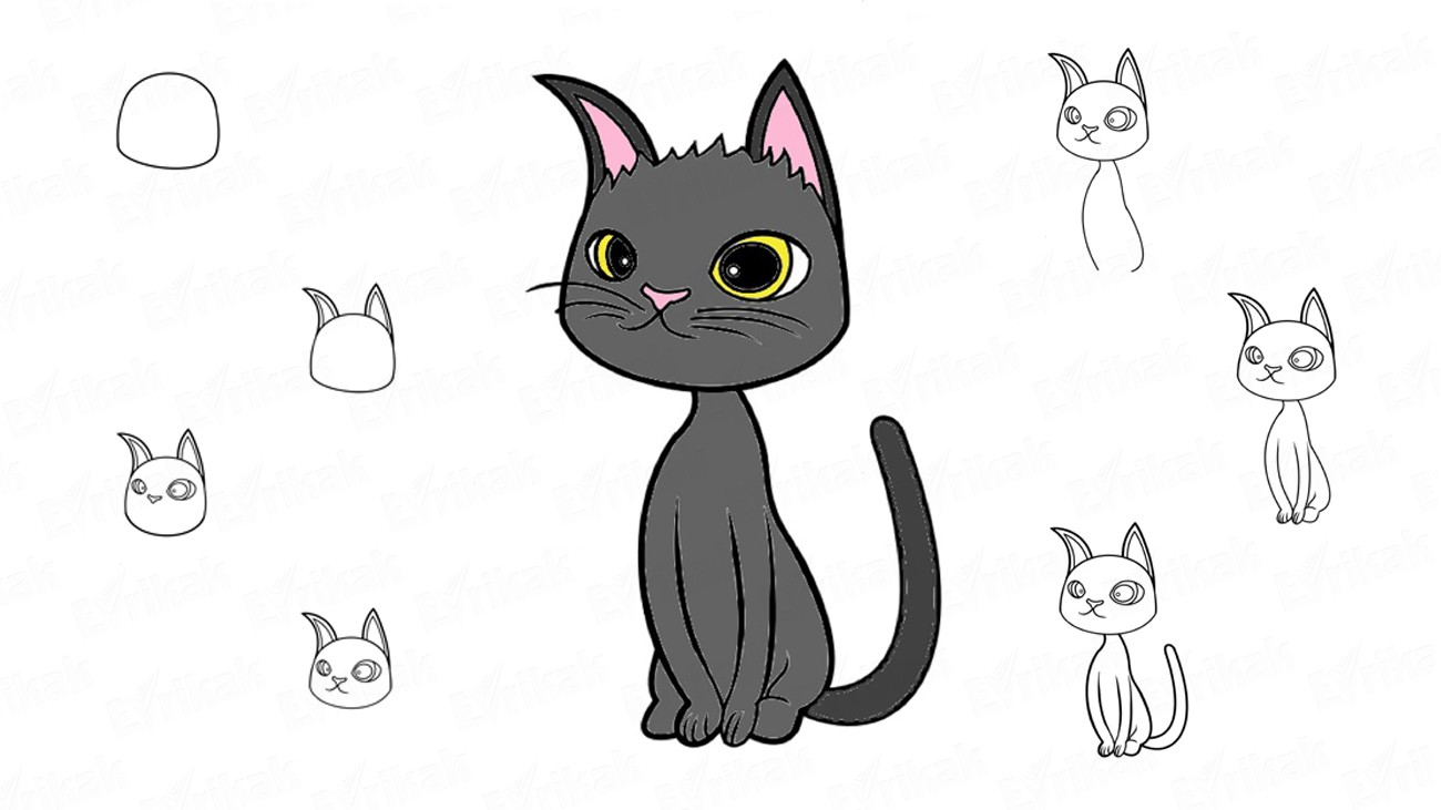 How to draw a black cat Rudolf from the cartoon