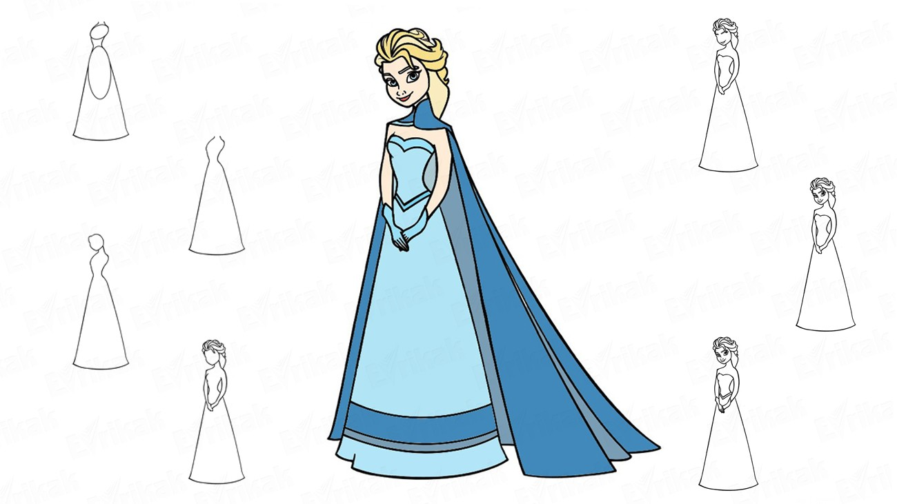 "Learn to draw Elsa from the cartoon ""Frozen"" (+ coloring)"