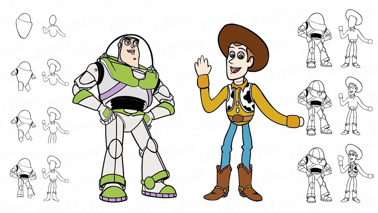"Draw Buzz Lightyear and Woody from the cartoon ""Toy Story"" (+ coloring)"