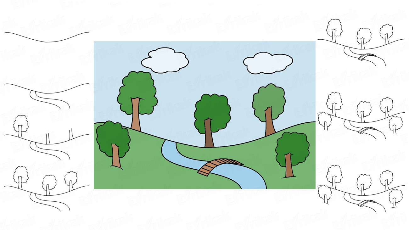 Learn to draw a park in stages using a pencil (+ coloring)