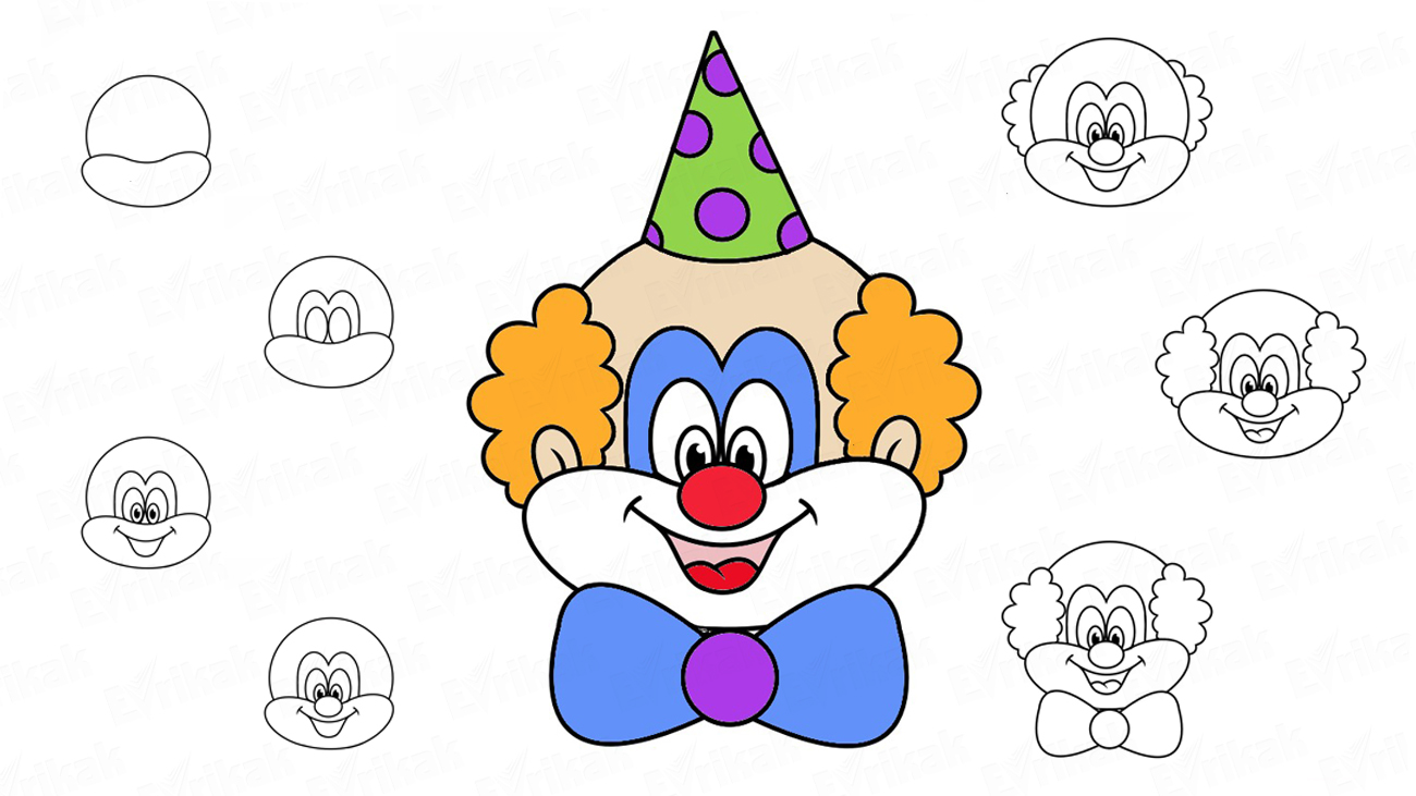 Learn to draw a clown's face in stages together with a child (+ coloring)