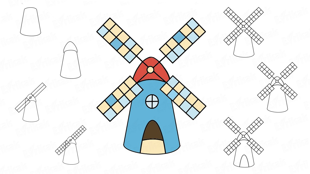 How to draw a windmill step by step