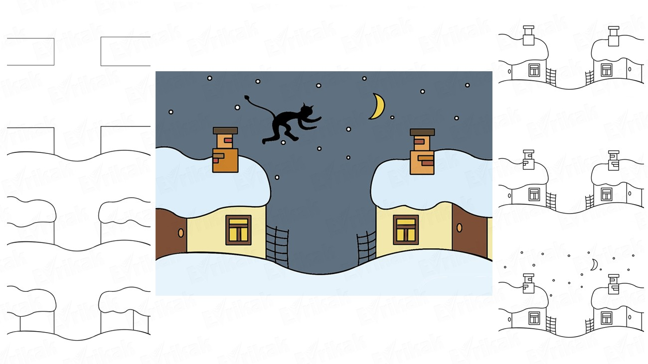 "Learn to draw an illustration ""Christmas Eve"" in stages together with the child (+ coloring)"