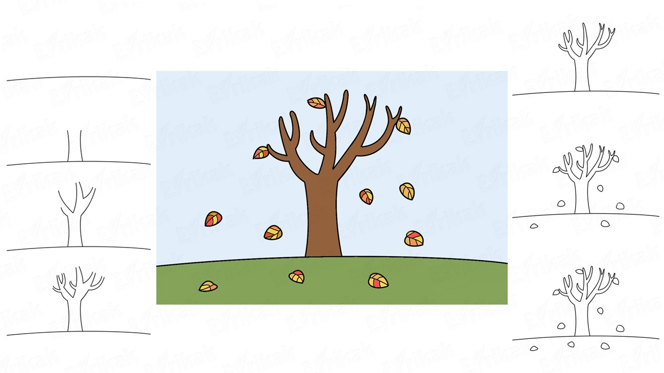 Learn to draw an autumn foliage in stages together with a child (+ coloring)