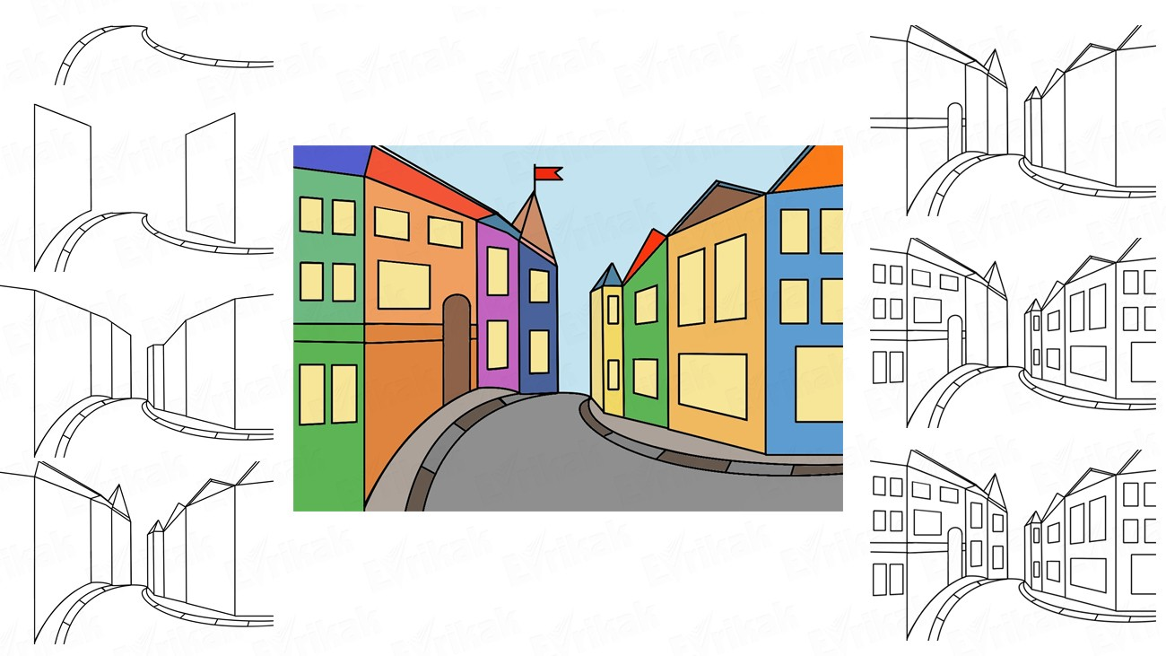 Draw a city street step by step together with a child (+coloring)