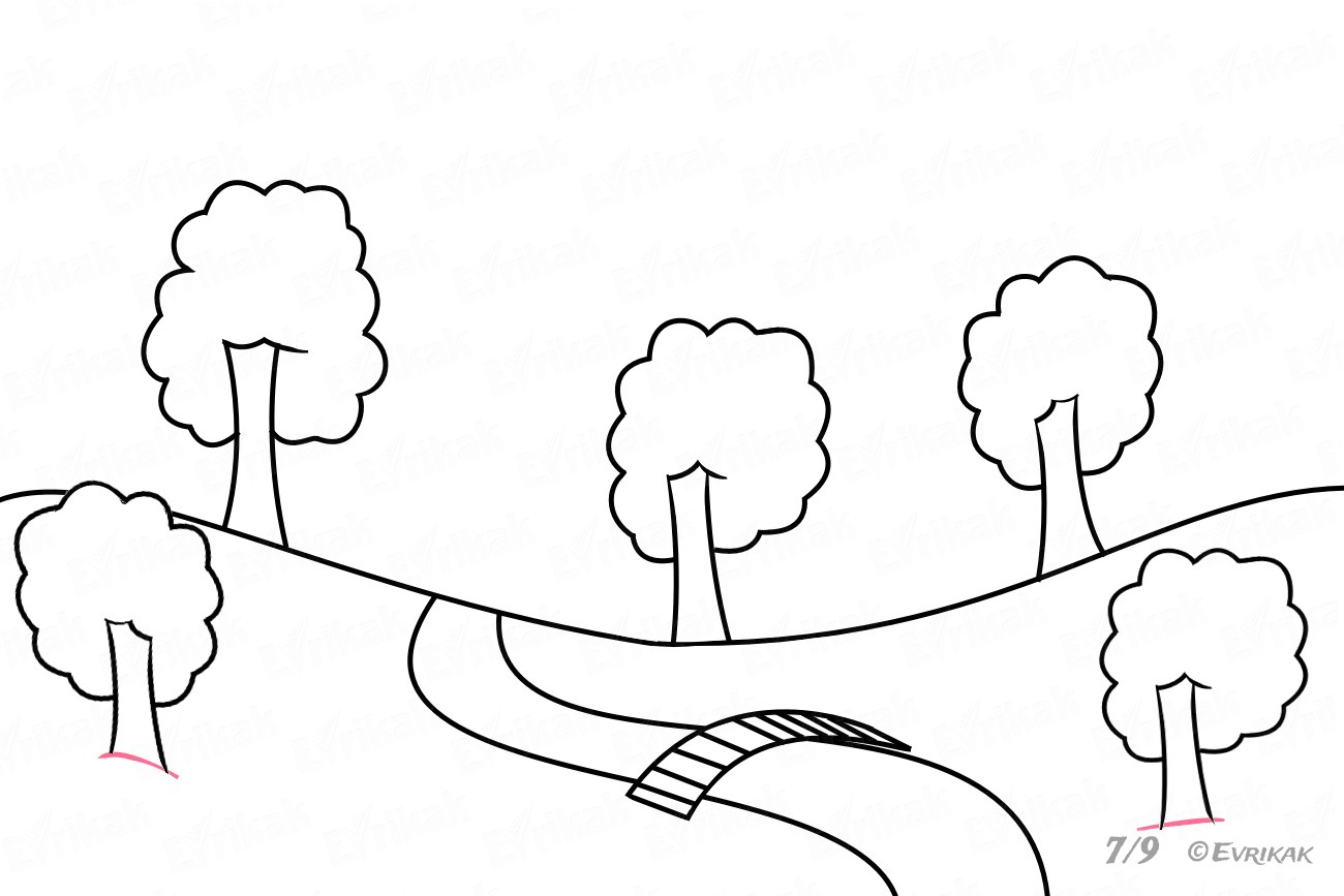 How To Draw A Summer Park Together With A Child Step By Step