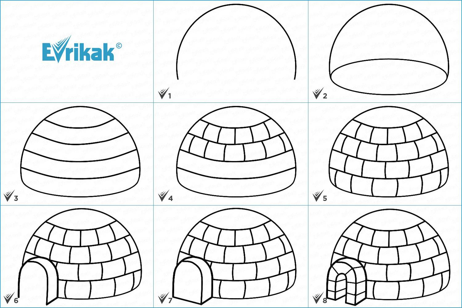 Collage with the stages of the igloo drawing