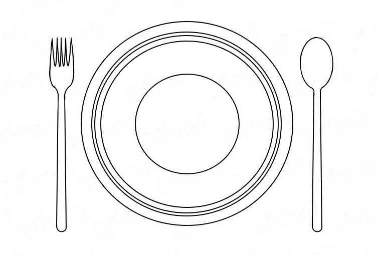 """Coloring online """"plate with cutlery"""""""