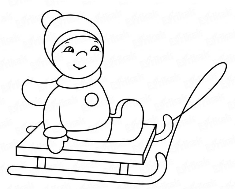 """Coloring online """" child on sledge"""""""