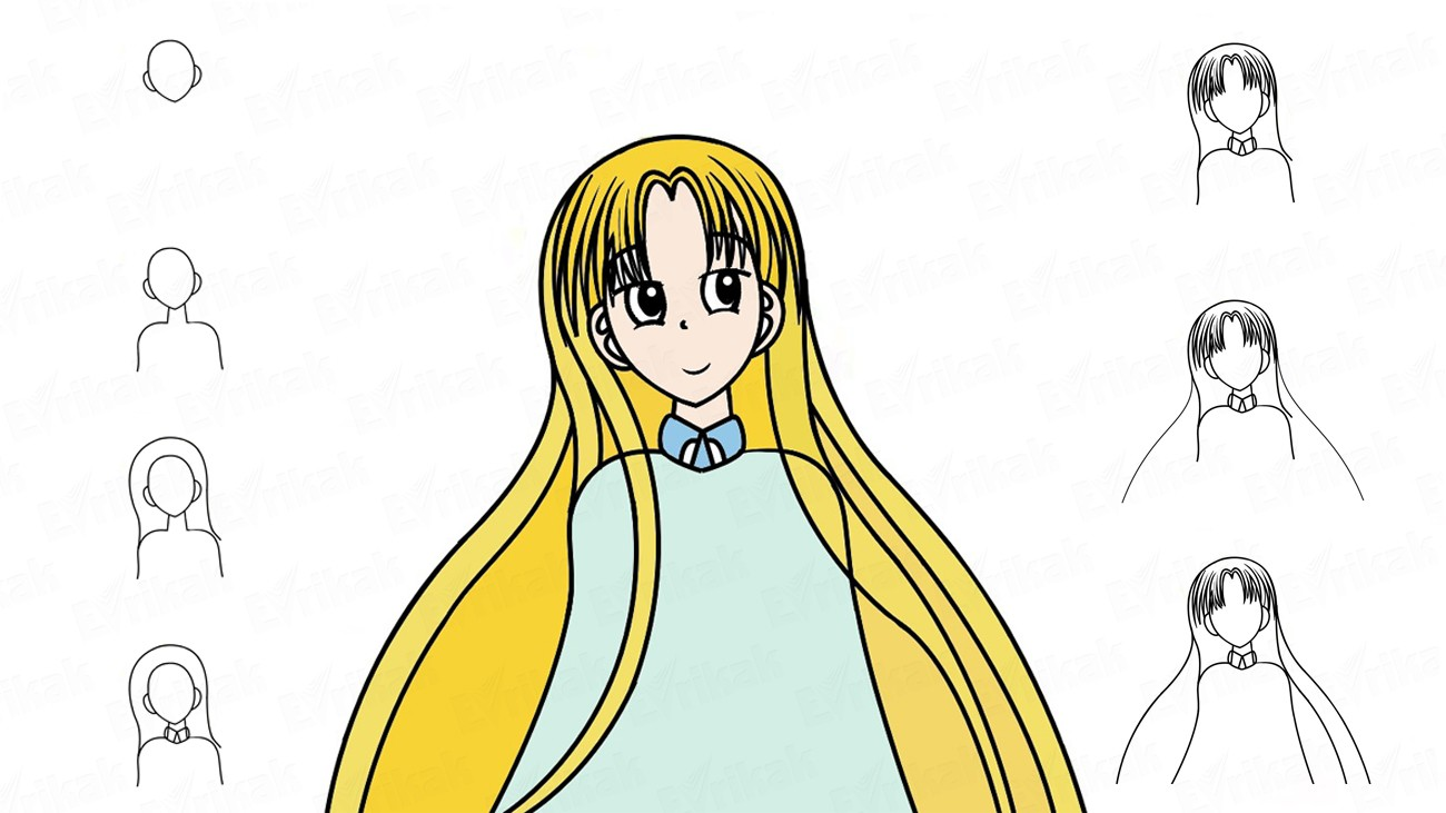 Learn to draw Asia Argento from anime step by step (+ coloring)