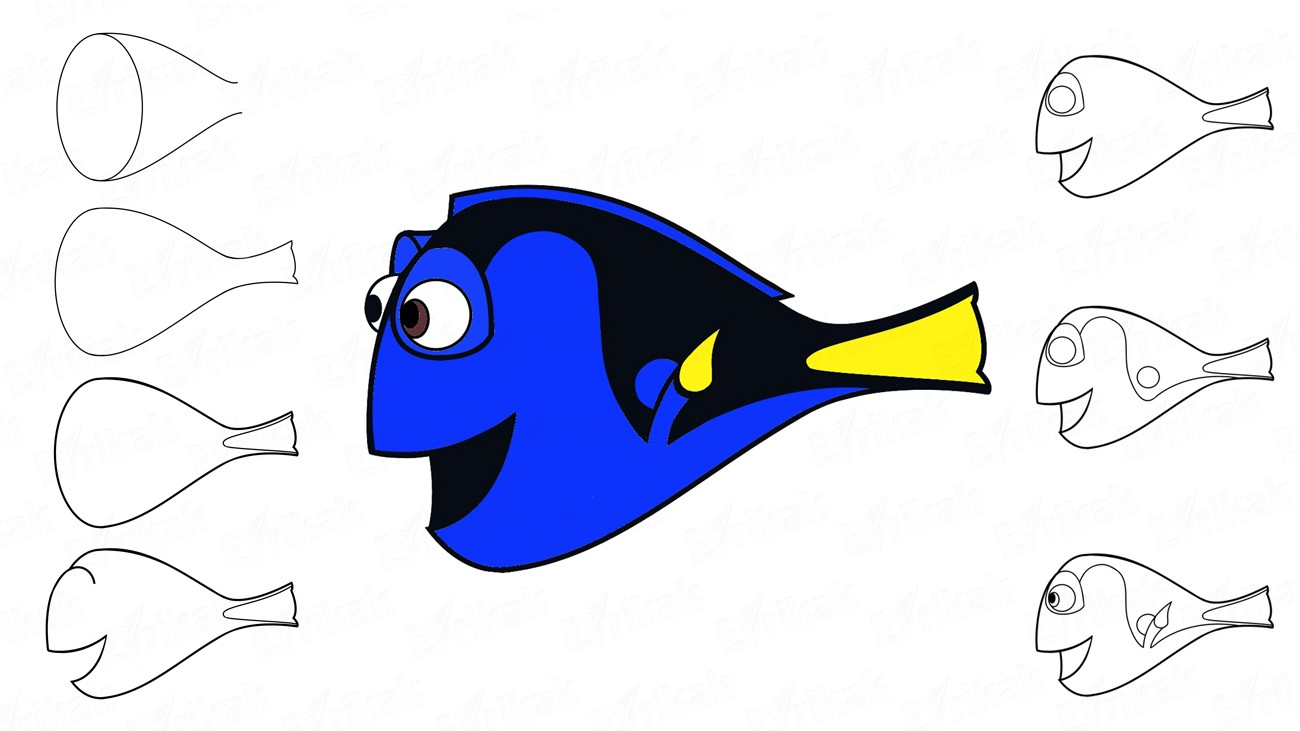"How to draw Dory from the cartoon ""Finding Nemo"" (+ coloring)"