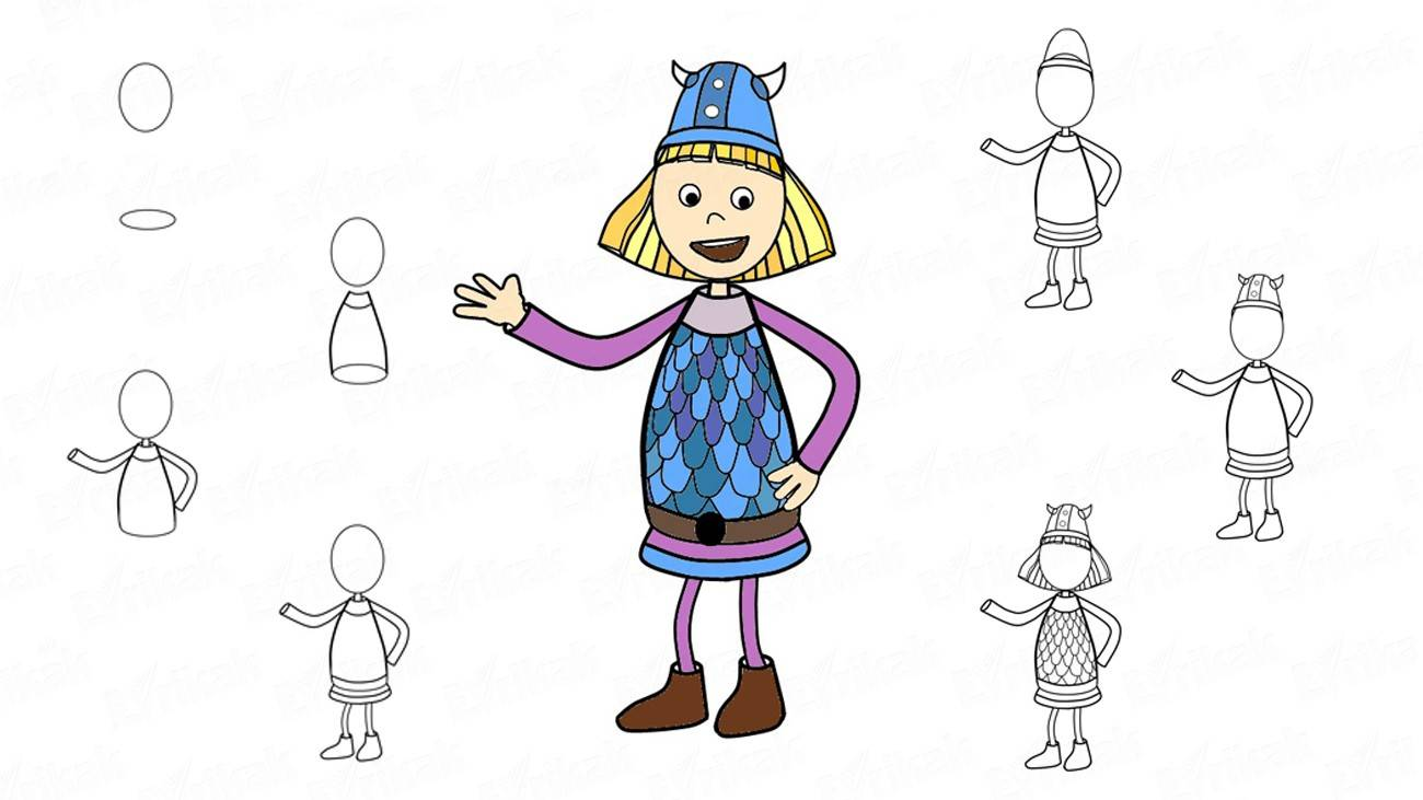 How to draw a little Vicky the Viking (+ coloring)