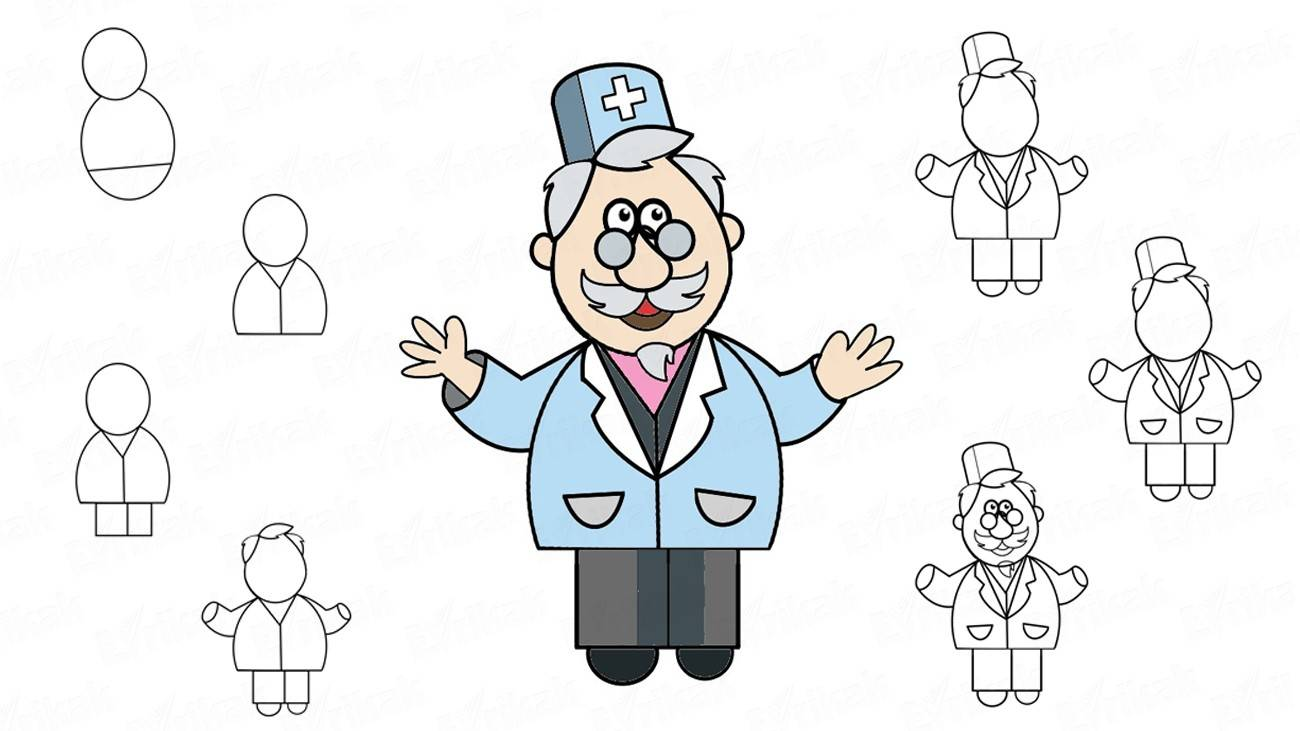 How to draw a cartoon doctor (+ coloring)