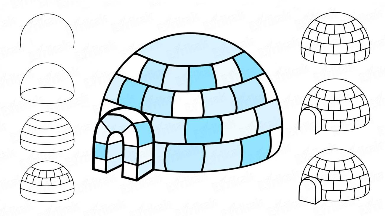 How to draw an igloo, a traditional eskimo's house (+ coloring)