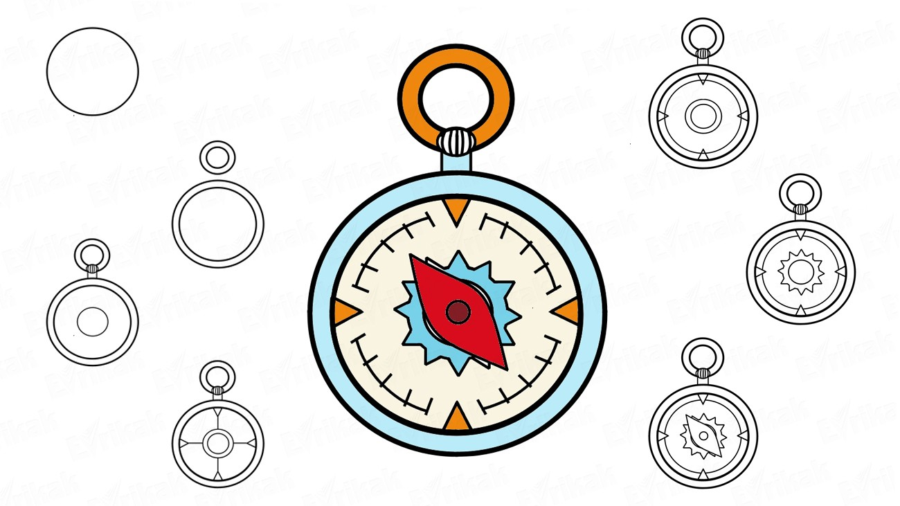 How to draw a compass step by step (+ coloring)