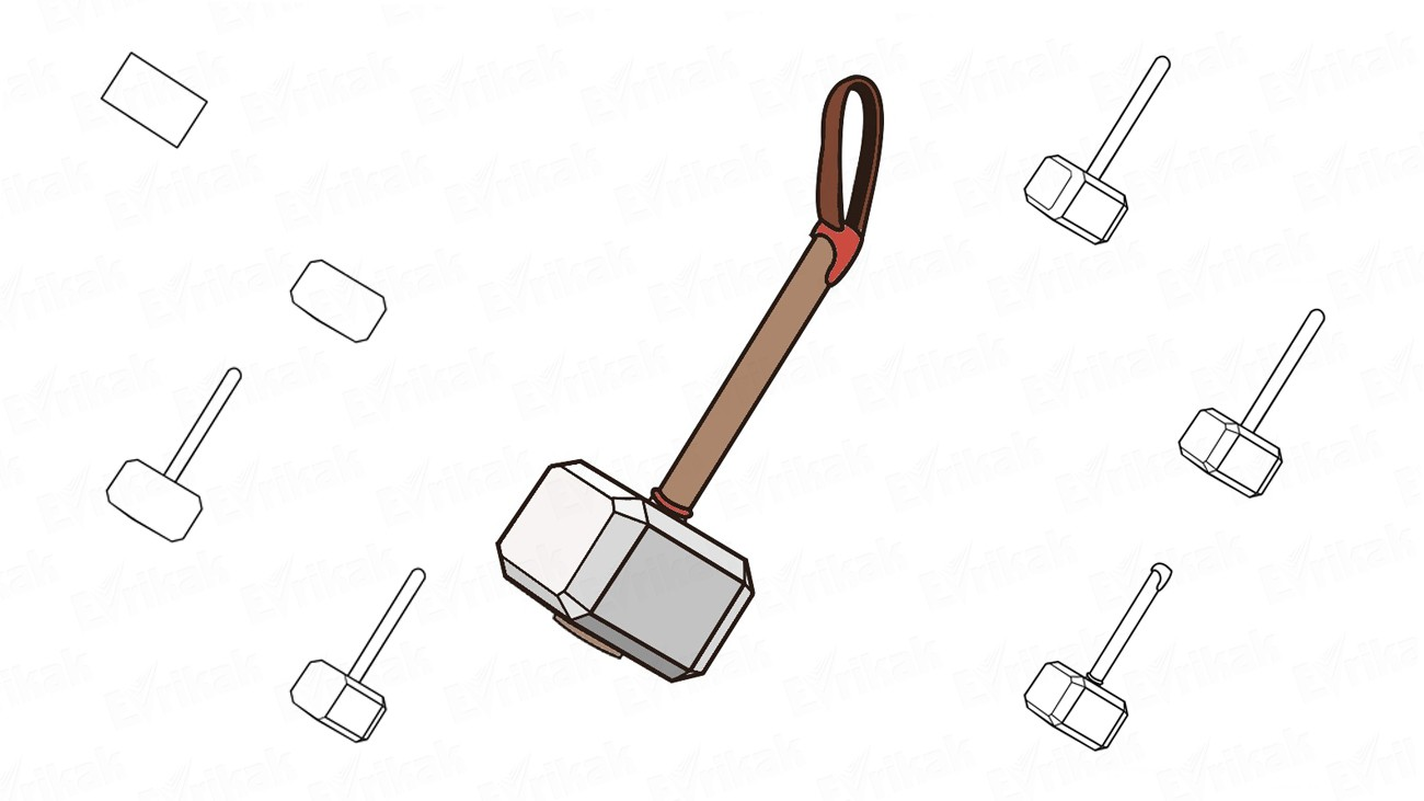 How to draw a Mjolnir – the thunder God Thor's hammer (+ coloring)