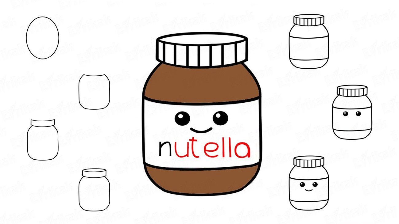 How to draw Nutella step by step