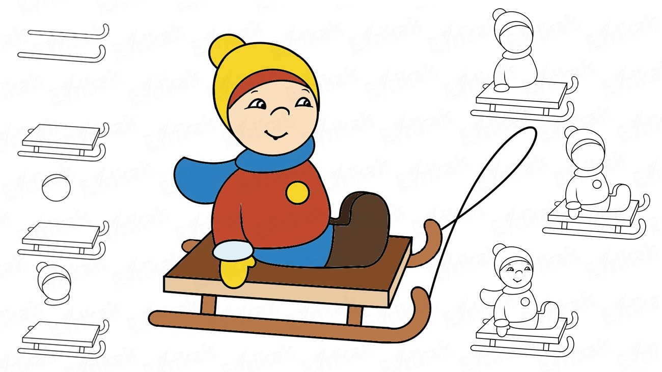Learn to draw a child on a sledge step by step (+ coloring)