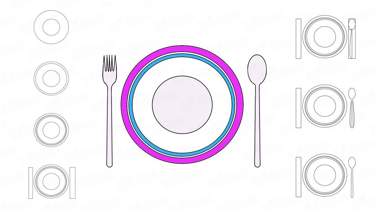 How to draw a plate with cutlery (+ coloring)